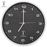 vidaXL Radijski upravljan zidni sat s kvarcnim mehanizmom 31 cm crni