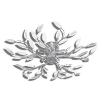 Stropna svjetiljka s bijelim kristalima u obliku lišća za 5x E 14