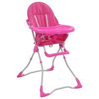 vidaXL Visoka hranilica za bebe ružičasto-bijela