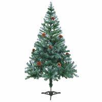 vidaXL Umjetno zamrznuto Božićno drvce sa šišarkama 150 cm