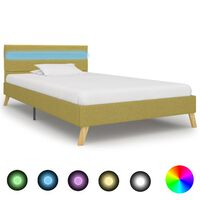 vidaXL Okvir za krevet od tkanine s LED svjetlom zeleni 100 x 200 cm