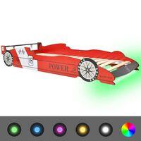 vidaXL Dječji krevet u obliku trkaćeg automobila LED 90x200 cm crveni