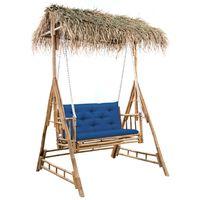 vidaXL Ljuljačka za 2 osobe s jastukom i palminim lišćem 202 cm bambus