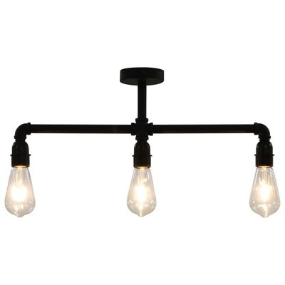 vidaXL Stropna svjetiljka crna 3 x žarulja E27