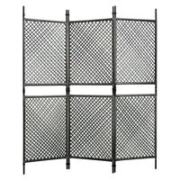 vidaXL Sobna pregrada od poliratana s 3 panela antracit 180 x 200 cm