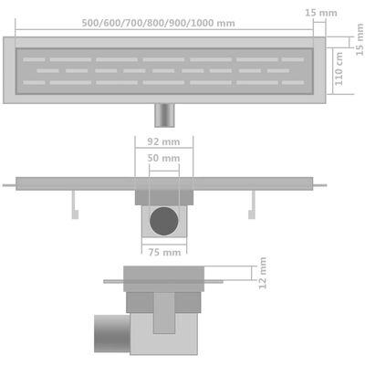 vidaXL Linearni odvod za tuš 2 kom 530 x 140 mm od nehrđajućeg čelika