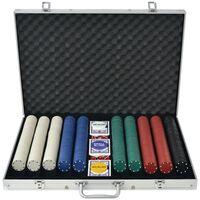 vidaXL Set za Poker s 1000 Žetona Aluminijum