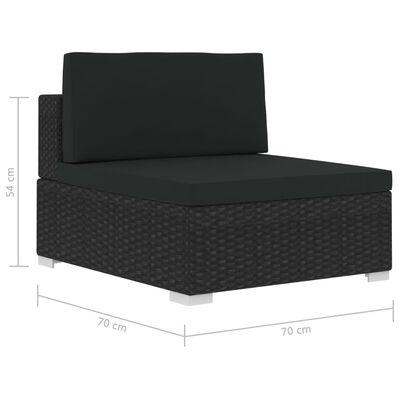 vidaXL 4-dijelna vrtna garnitura od poliratana s jastucima crna