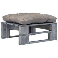 vidaXL Vrtni tabure od paleta sa sivim jastukom sivi drveni