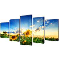 Zidne Slike na Platnu Set s Printom Suncokreta 200 x 100 cm