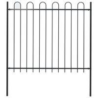 vidaXL Vrtna ograda s ukrasnim lukovima čelična 17 x 1,5 m crna