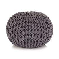vidaXL Ručno pleteni pamučni tabure 50x35 cm sivi