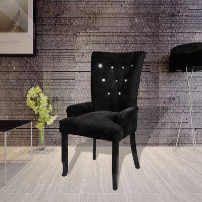 vidaXL Fotelja od baršuna crna