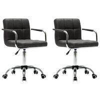 vidaXL Okretne blagovaonske stolice od tkanine 2 kom tamnosive