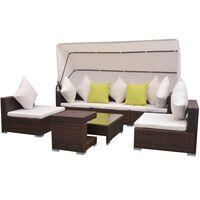 vidaXL 7-dijelni vrtni lounge set s baldahinom poli ratan smeđi