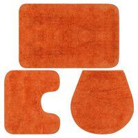 vidaXL 3-dijelni set kupaonskih otirača od tkanine narančasti