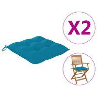 vidaXL Jastuci za stolice 2 kom svjetloplavi 40 x 40 x 7 cm od tkanine