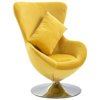 vidaXL Okretna jajolika stolica s jastukom žuta baršunasta