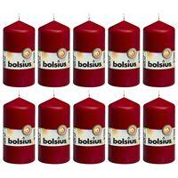 Bolsius debele svijeće 10 kom 120 x 58 mm crvena boja vina