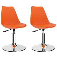 vidaXL Okretne blagovaonske stolice od umjetne kože 2 kom narančaste