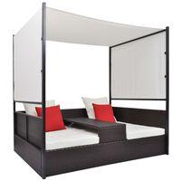 vidaXL Vrtni krevet s baldahinom smeđi 190 x 130 cm poliratan