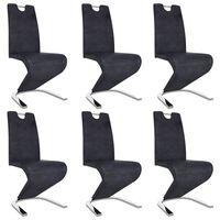 vidaXL Blagovaonske stolice cik-cak oblika od umjetne kože 6 kom sive