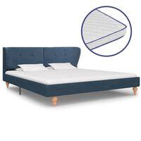 vidaXL Krevet od tkanine s memorijskim madracem plavi 160 x 200 cm