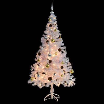 vidaXL Umjetno božićno drvce s kuglicama i LED žaruljicama 150 cm bijelo