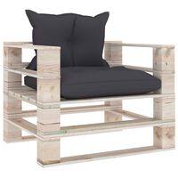vidaXL Vrtna sofa od paleta od borovine s antracit jastucima