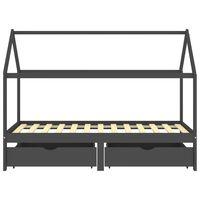 vidaXL Okvir za dječji krevet s ladicama tamnosivi 90x200 cm borovina