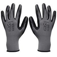 vidaXL Radne rukavice Nitril 24 Para sivo-crne Veličina 10 / XL