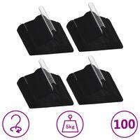 vidaXL 100-dijelni set vješalica za odjeću protuklizni crni baršunasti