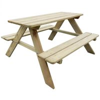 vidaXL Dječji stol za piknik 89 x 89,6 x 50,8 cm od borovine
