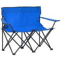 vidaXL Sklopiva stolica za kampiranje za 2 osobe čelik i tkanina plava
