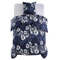 vidaXL Set posteljine cvjetni mornarsko plavi 135 x 200 / 80 x 80 cm