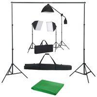 vidaXL Oprema za fotografski studio sa svjetlima softbox i pozadinom