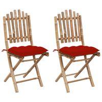 vidaXL Sklopive vrtne stolice s jastucima 2 kom od bambusa