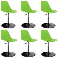 vidaXL Okretne blagovaonske stolice 6 kom zelene PP