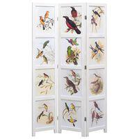 vidaXL Sobna pregrada s 3 panela bijela 105 x 165 cm s uzorkom ptica