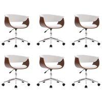 vidaXL Okretne blagovaonske stolice od umjetne kože 6 kom bijele