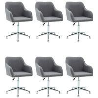 vidaXL Okretne blagovaonske stolice od tkanine 6 kom svjetlosive