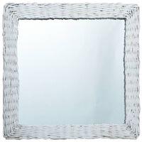 vidaXL Ogledalo od pruća 60 x 60 cm bijelo