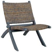 vidaXL Stolica za opuštanje siva prirodni ratan kubu i drvo mahagonija