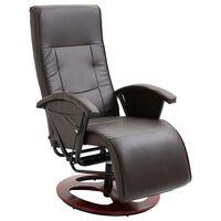 vidaXL Okretna TV fotelja od umjetne kože smeđa