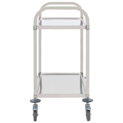 vidaXL Kuhinjska kolica s 2 razine od nehrđajućeg čelika 107x55x90 cm