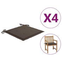 vidaXL Jastuci za vrtne stolice 4 kom smeđe-sivi 50x50x4 cm od tkanine