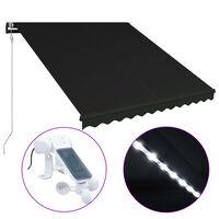 vidaXL Uvlačiva tenda sa senzorom za vjetar LED 300 x 250 cm antracit