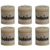 Bolsius rustične debele svijeće 6 kom 80 x 68 mm pastelno bež