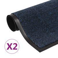 vidaXL Otirači za prašinu 2 kom pravokutni čupavi 60 x 90 cm plavi