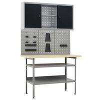vidaXL Radni stol s tri zidne ploče i jednim ormarićem